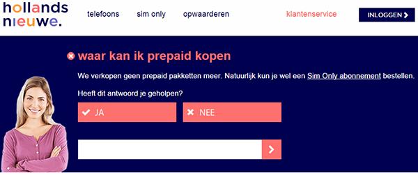 hollandsnieuwe verkoopt geen prepaid meer